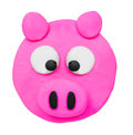 Plasticine clay pig face on white background Royalty Free Stock Image