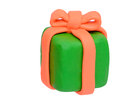 Plasticine clay present box on white background Royalty Free Stock Photos