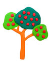 Plasticine clay tree on white background Stock Images