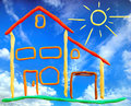 Plasticine cottage and sun Royalty Free Stock Images