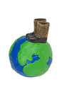 Plasticine Globe and felt boots Stock Photo
