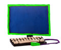 Plasticine handmade computer on a white background Stock Photos