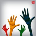 Plasticine hands on a background.