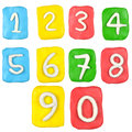 Plasticine number set isolated on white background Stock Photo
