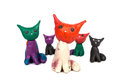 Plasticine toys group of colorful cats isolated on a white background Stock Images