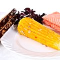 Plate with baked corn Royalty Free Stock Photos