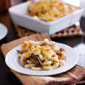 Plate of baked macaroni and cheese casserole Royalty Free Stock Photo