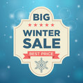 Plate big winter sale and best price beige color blue background snow Stock Photos