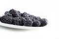 Plate with blackberries