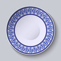 Plate with blue ornament on edge. Template design in ethnic style Gzhel porcelain painting. Royalty Free Stock Photo