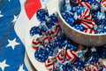 Plate and Bowl of Patriotic Hershey Chocolate Kisses Royalty Free Stock Photo