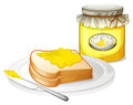 A plate with a bread and a jar of banana jam illustration on white background Stock Image