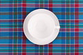 Plate on checkered table cloth Royalty Free Stock Photos