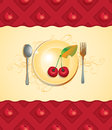 Plate and cherry Royalty Free Stock Photography