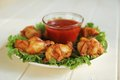 Plate chicken wings salad spicy tomato dip Royalty Free Stock Image