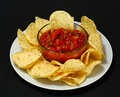A plate of chips and fresh salsa Royalty Free Stock Photo