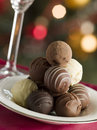 Plate of Chocolate Truffles Stock Images