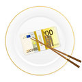 Plate chopsticks and two hundred euro pack banknotes on a white background Stock Photo