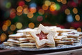 Plate of Christmas cookies under lights Royalty Free Stock Photo