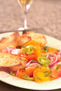 Plate of Colorful Tomato Salad Stock Image
