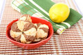 Plate with cookies lemon and  towel Stock Image