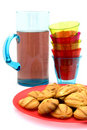 Plate with cookies, stack of glasses and lemonade Stock Photo