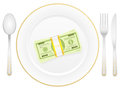 Plate cutlery and dollar pack Stock Photo