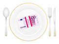 Plate cutlery and five hundred euro pack Royalty Free Stock Images