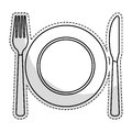 Plate with cutlery Royalty Free Stock Photo