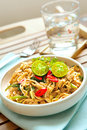 Plate of delicious stir fry chinese noodles Stock Image