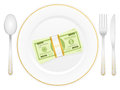 Plate and dollar pack with stack cutlery Stock Photos