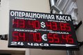 Plate exchange rate ruble dollar euro Russia Royalty Free Stock Photo