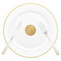 Plate and fifty euro cent Royalty Free Stock Photography