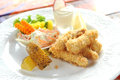 Plate fish fingers close up Royalty Free Stock Photos