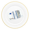 Plate and five euro pack with on a white background Stock Photo