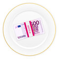 Plate and five hundred euro pack with on a white background Stock Image