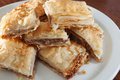 Plate of flaky baklava Stock Photography