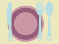 Plate fork knife and spoon with cutlery retro colors Royalty Free Stock Photo