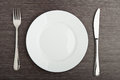 Plate fork knife white empty Royalty Free Stock Image