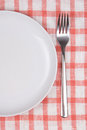 Plate and fork over checkered background tablecloth Royalty Free Stock Image