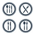 Plate fork spoon and knife icons on white background. Royalty Free Stock Photo