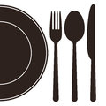 Plate, fork, spoon and knife Royalty Free Stock Photo