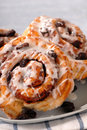 Plate of fresh baked cinnamon buns Stock Image