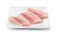 Plate with fresh raw fish fillet Royalty Free Stock Photo