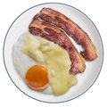 Bacon And Egg Fried With Edam Cheese Slices And Served On White Porcelain Plate Isolated On White Background Royalty Free Stock Photo