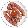 Fried Bacon Rashers With Fresh Ripe Tomato Served On White Porcelain Plate Isolated On White Background Royalty Free Stock Photo