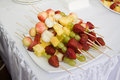 Plate of fruit dessert canape Royalty Free Stock Images