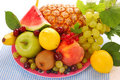 Plate with fruits Stock Photos