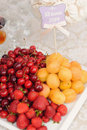 Plate with fruits and date card Stock Photography