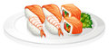 A plate full of sushi illustration on white background Stock Photo